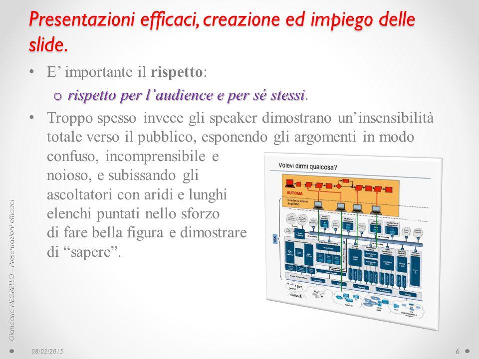 Presentazioni efficaci, creazione ed impiego delle slide. E' importante il rispetto: o rispetto per l'audience e per sé stessi o rispetto per l'audien