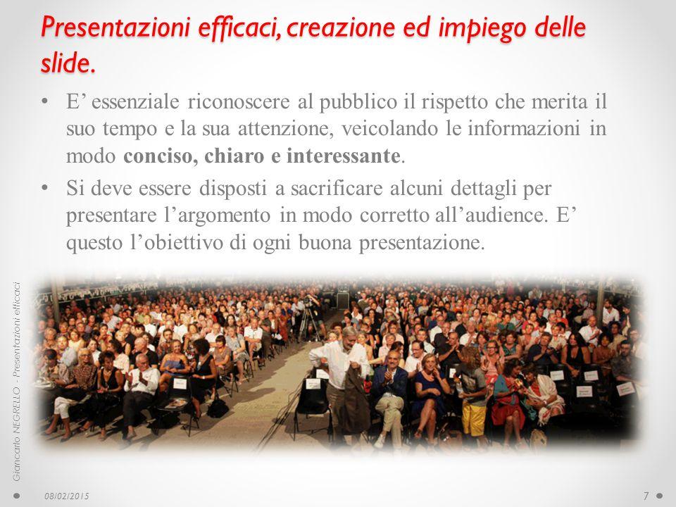 Presentazioni efficaci, creazione ed impiego delle slide. E' essenziale riconoscere al pubblico il rispetto che merita il suo tempo e la sua attenzion