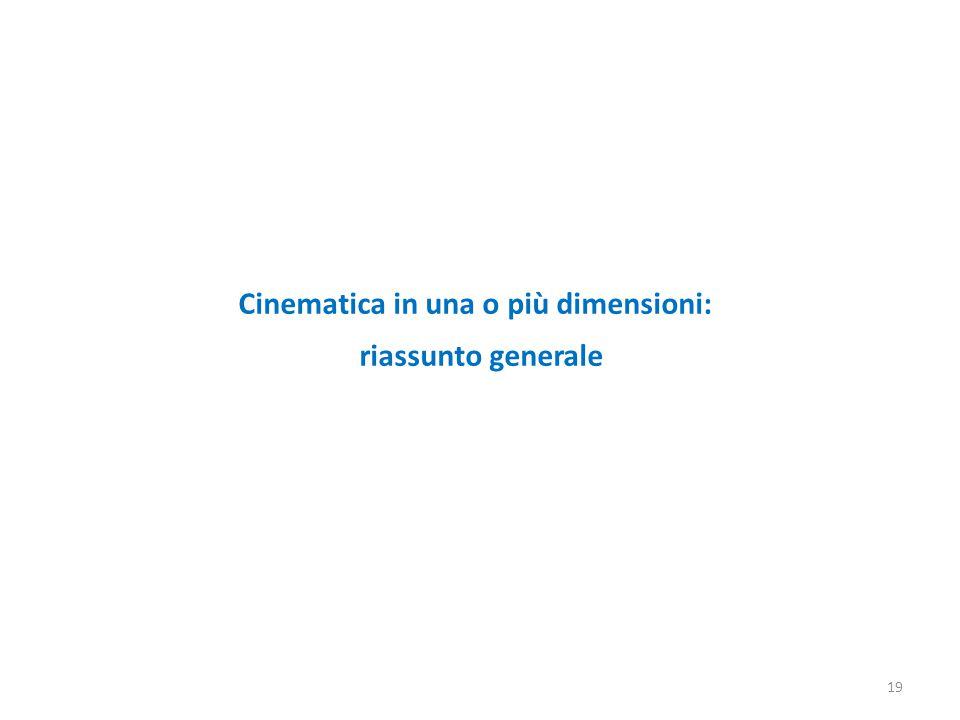 19 Cinematica in una o più dimensioni: riassunto generale