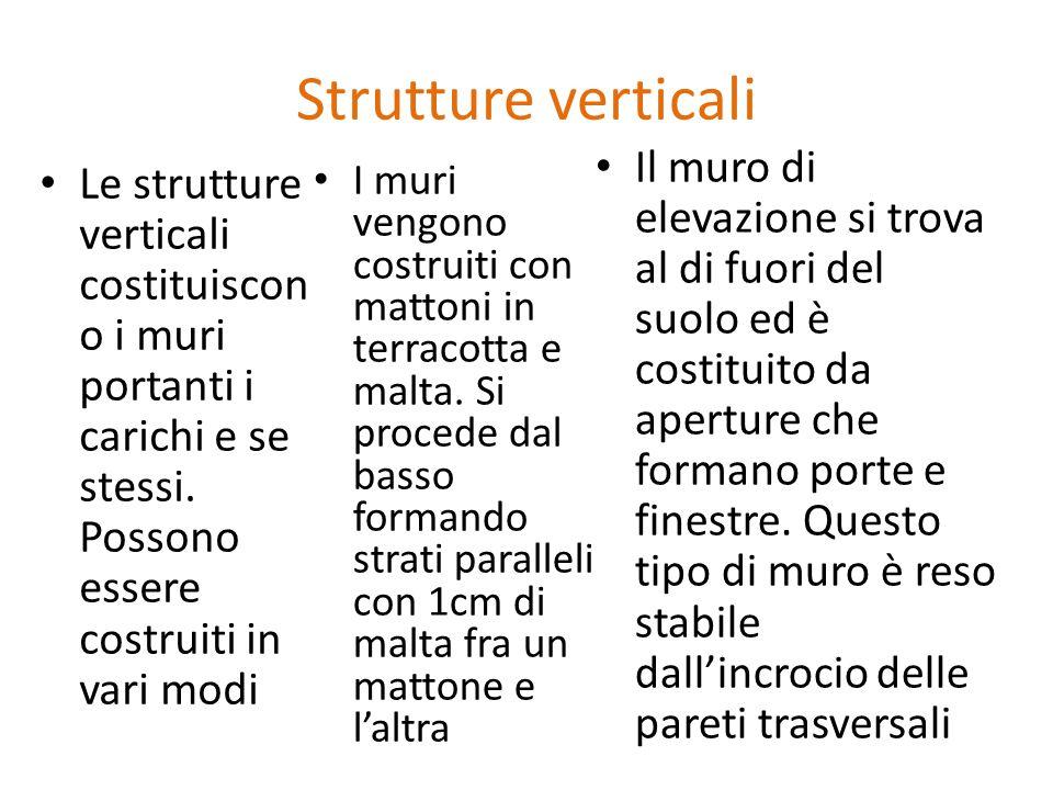 Strutture verticali Le strutture verticali costituiscon o i muri portanti i carichi e se stessi. Possono essere costruiti in vari modi I muri vengono