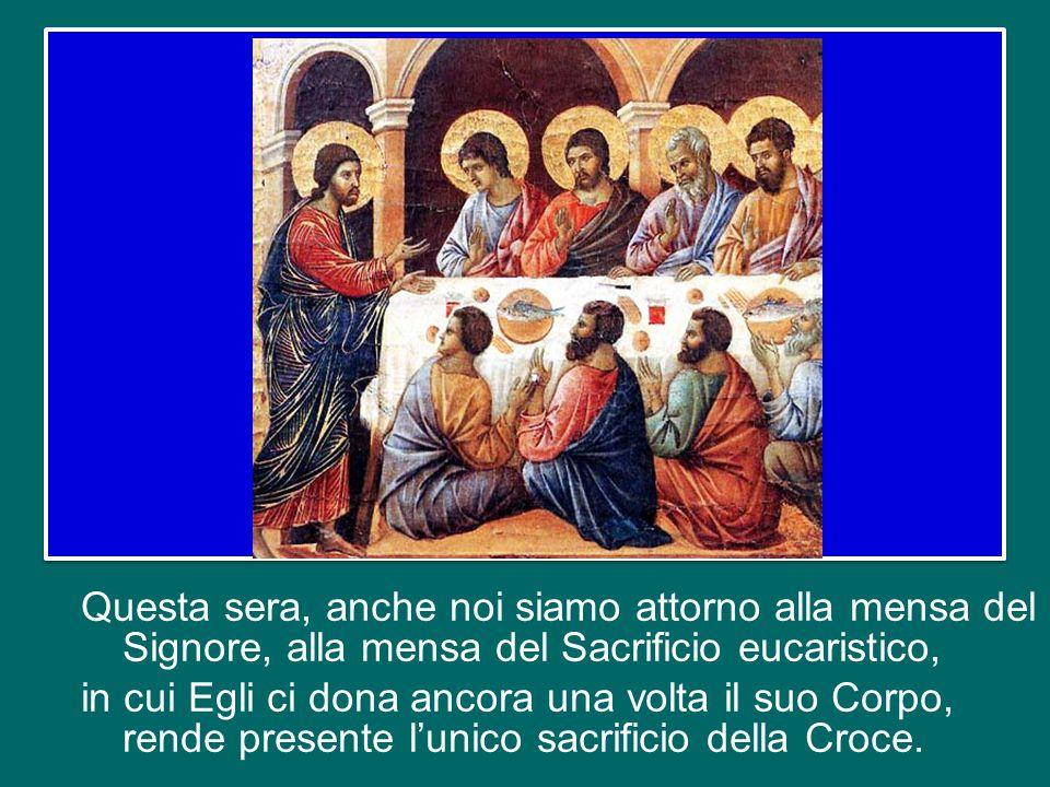 Ma Gesù non si scoraggia: chiede ai discepoli di far sedere la gente in comunità di cinquanta persone, alza gli occhi al cielo, recita la benedizione,