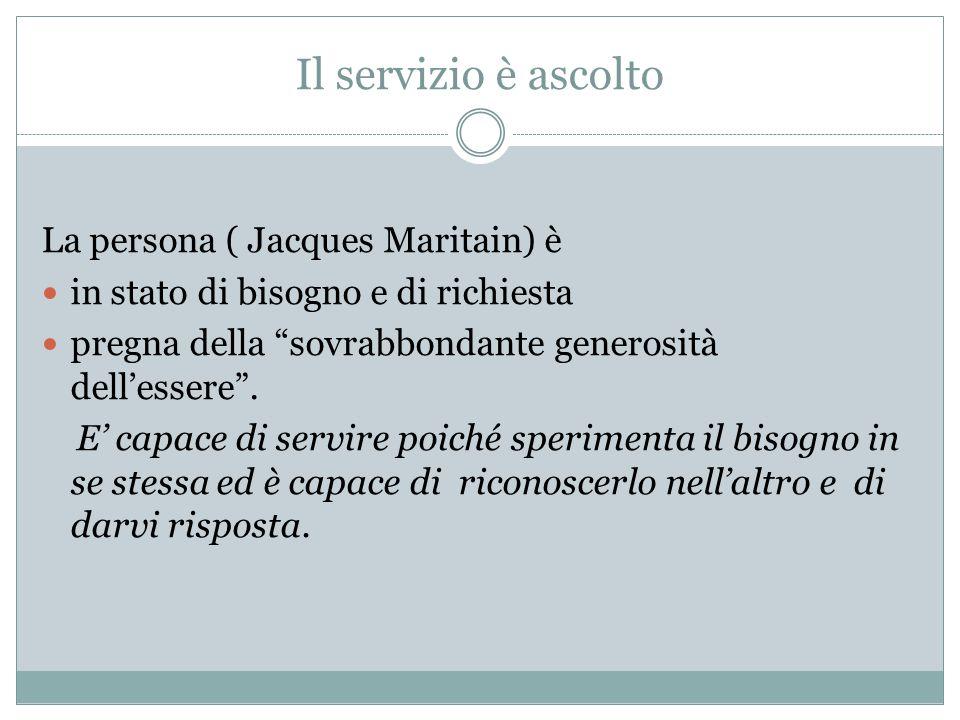La persona ( Jacques Maritain) è in stato di bisogno e di richiesta pregna della sovrabbondante generosità dell'essere .