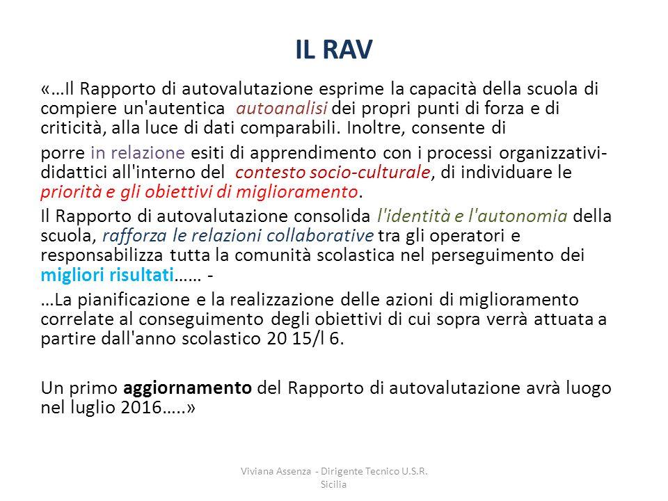 IL RAV «…Il Rapporto di autovalutazione esprime la capacità della scuola di compiere un autentica autoanalisi dei propri punti di forza e di criticità, alla luce di dati comparabili.