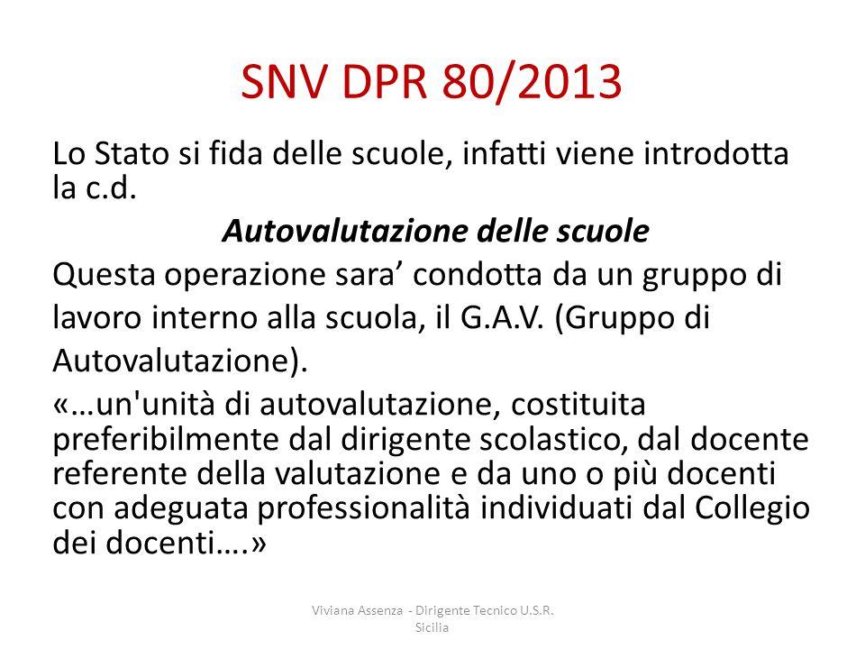 SNV DPR 80/2013 Lo Stato si fida delle scuole, infatti viene introdotta la c.d.
