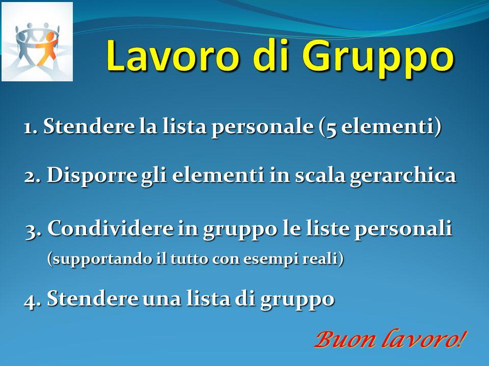 1. Stendere la lista personale (5 elementi) 2. Disporre gli elementi in scala gerarchica 3. Condividere in gruppo le liste personali (supportando il t