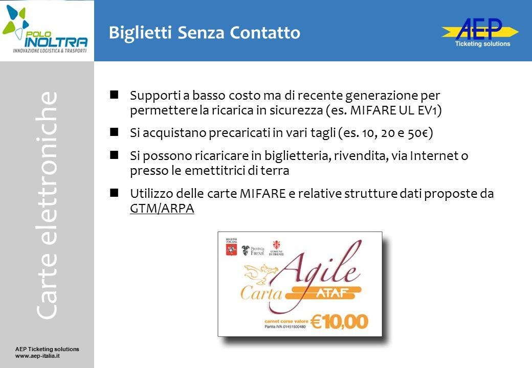 AEP Ticketing solutions www.aep-italia.it Biglietti Senza Contatto Supporti a basso costo ma di recente generazione per permettere la ricarica in sicu