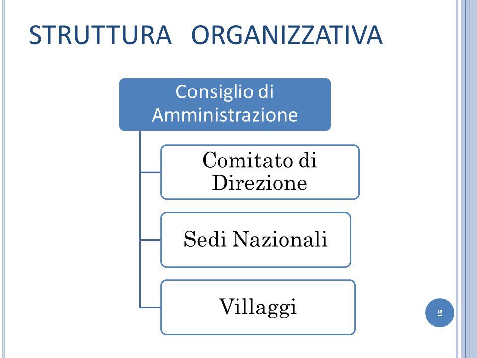 STRUTTURA ORGANIZZATIVA Consiglio di Amministrazione Comitato di Direzione Sedi NazionaliVillaggi 2