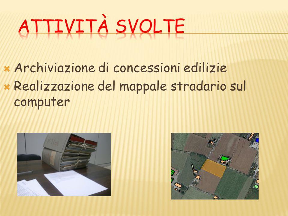  Archiviazione di concessioni edilizie  Realizzazione del mappale stradario sul computer