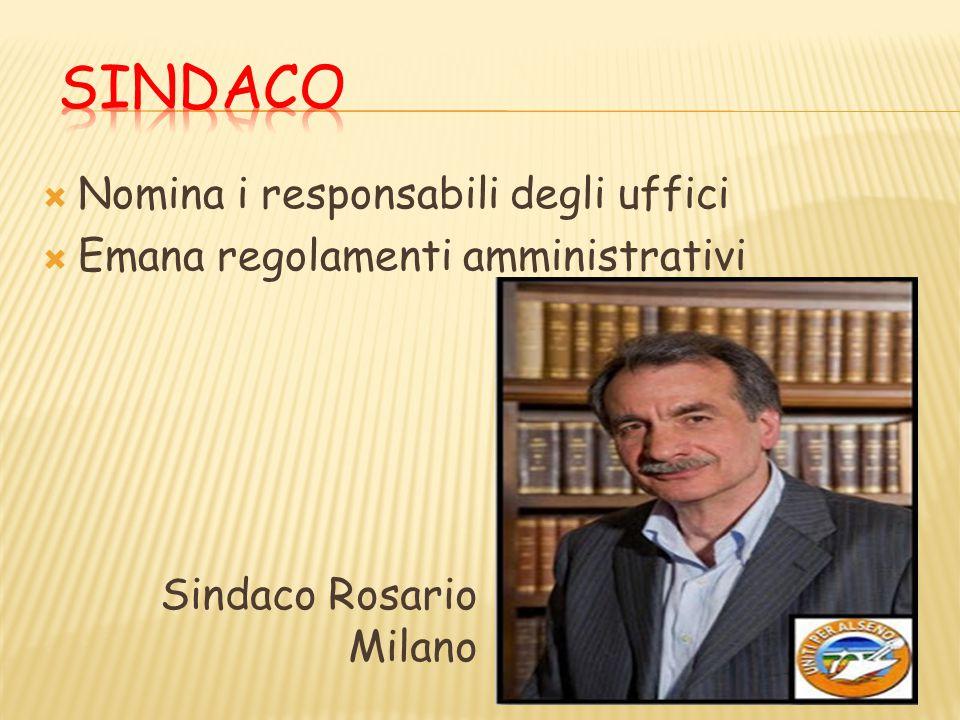  Nomina i responsabili degli uffici  Emana regolamenti amministrativi Sindaco Rosario Milano