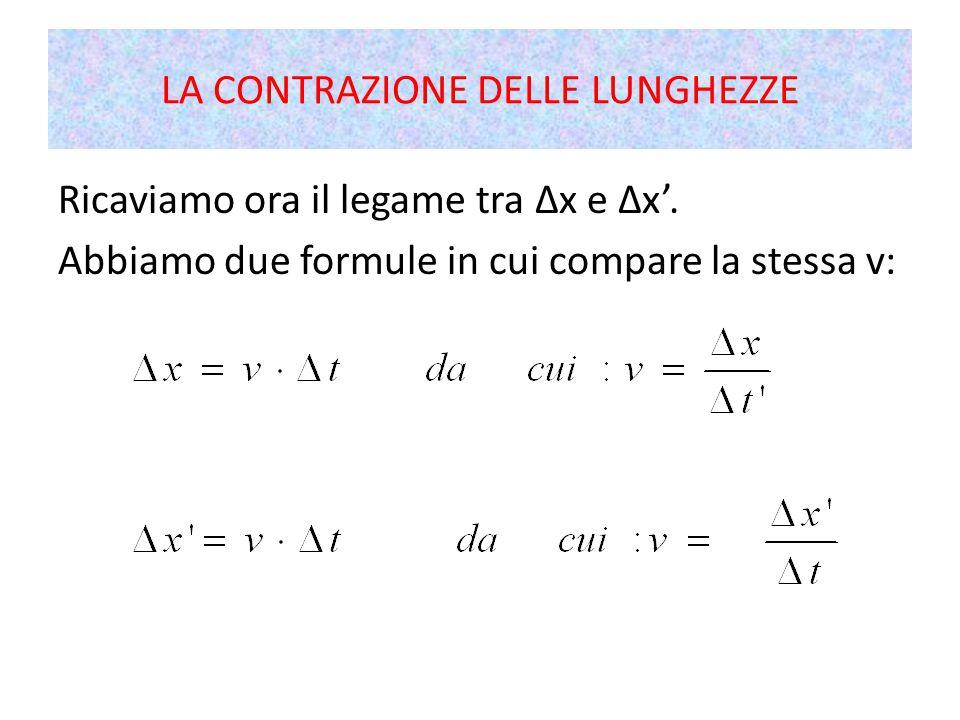 Ricaviamo ora il legame tra Δx e Δx'. Abbiamo due formule in cui compare la stessa v: