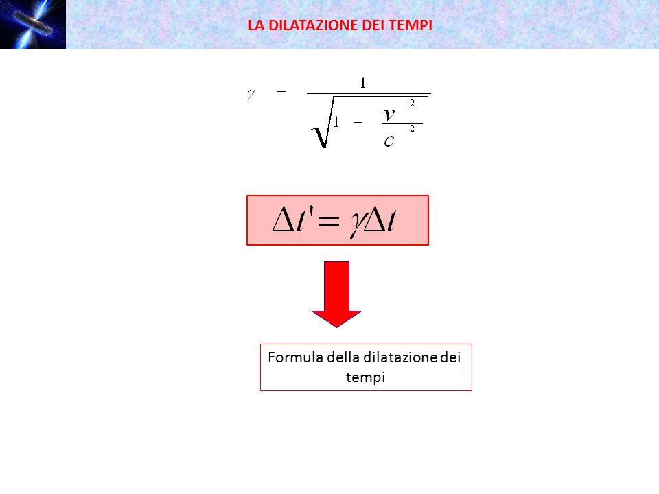 LA DILATAZIONE DEI TEMPI Formula della dilatazione dei tempi