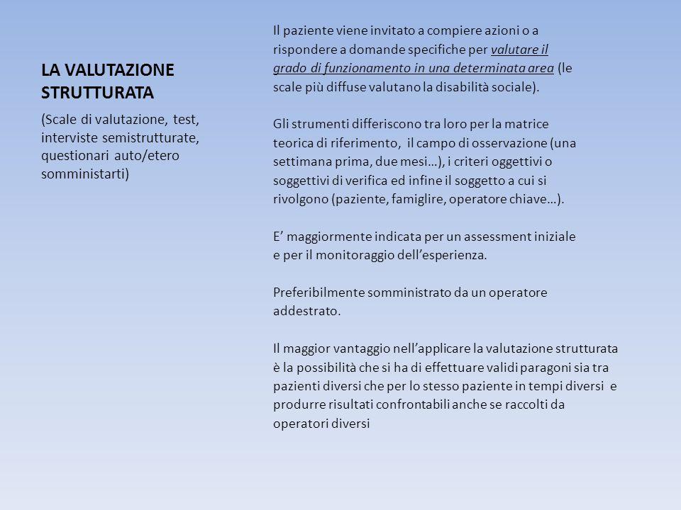 LA VALUTAZIONE STRUTTURATA Il paziente viene invitato a compiere azioni o a rispondere a domande specifiche per valutare il grado di funzionamento in