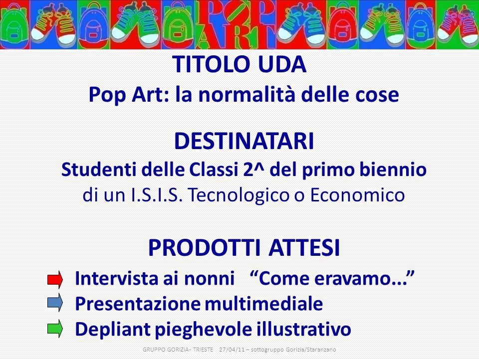 TITOLO UDA Pop Art: la normalità delle cose DESTINATARI Studenti delle Classi 2^ del primo biennio di un I.S.I.S.