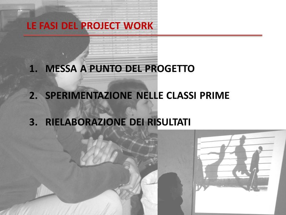 LE FASI DEL PROJECT WORK 1.MESSA A PUNTO DEL PROGETTO 2.SPERIMENTAZIONE NELLE CLASSI PRIME 3.RIELABORAZIONE DEI RISULTATI