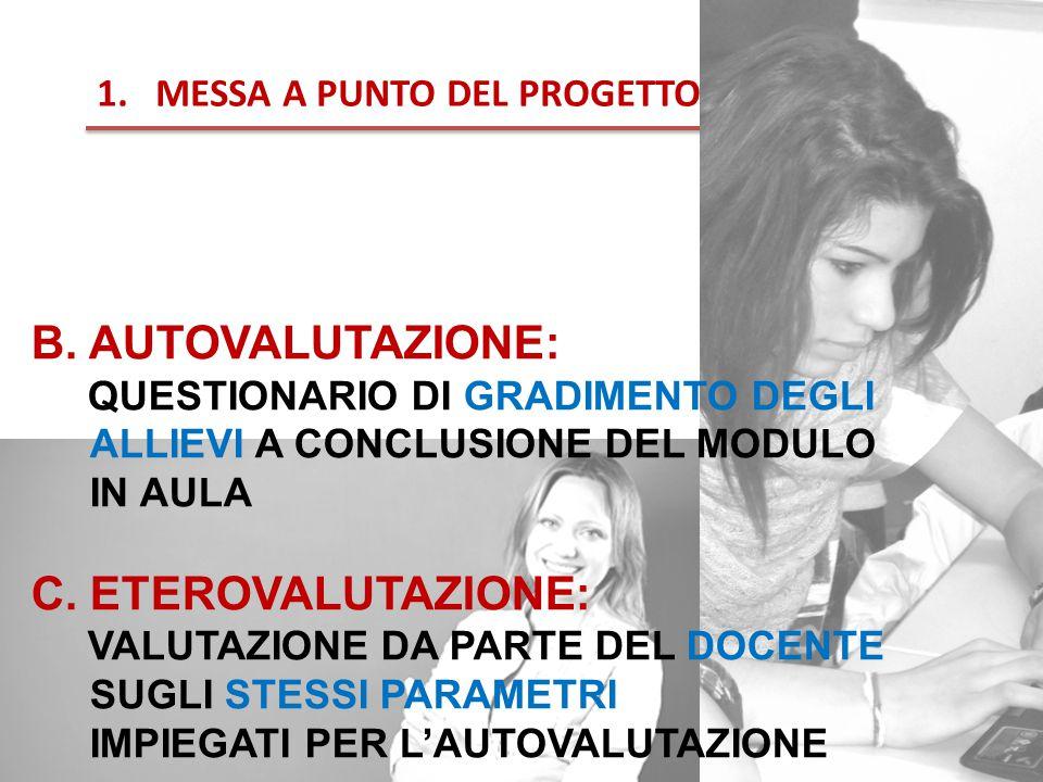 B. AUTOVALUTAZIONE: QUESTIONARIO DI GRADIMENTO DEGLI ALLIEVI A CONCLUSIONE DEL MODULO IN AULA C.