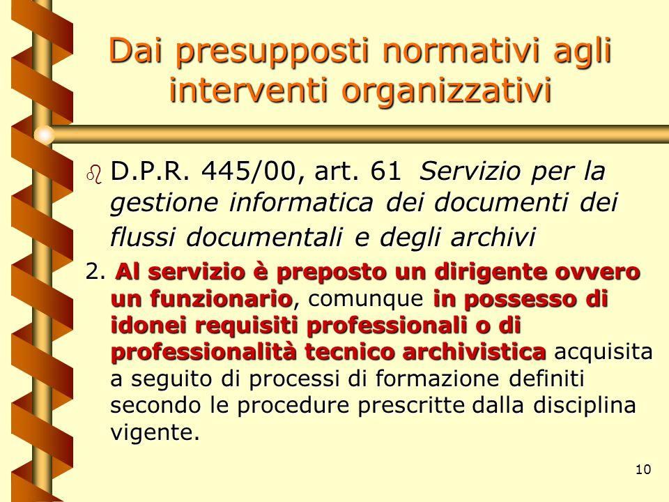 10 b D.P.R. 445/00, art. 61Servizio per la gestione informatica dei documenti dei flussi documentali e degli archivi 2. Al servizio è preposto un diri