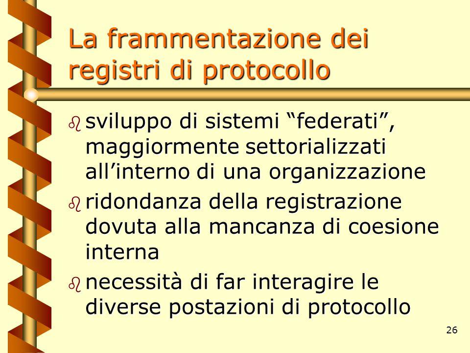 """26 La frammentazione dei registri di protocollo b sviluppo di sistemi """"federati"""", maggiormente settorializzati all'interno di una organizzazione b rid"""