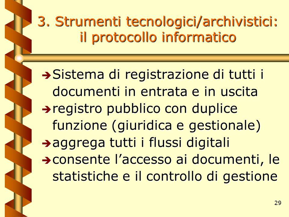 29 3. Strumenti tecnologici/archivistici: il protocollo informatico è Sistema di registrazione di tutti i documenti in entrata e in uscita è registro