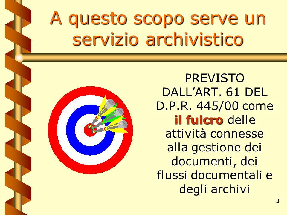 3 A questo scopo serve un servizio archivistico il fulcro PREVISTO DALL'ART. 61 DEL D.P.R. 445/00 come il fulcro delle attività connesse alla gestione