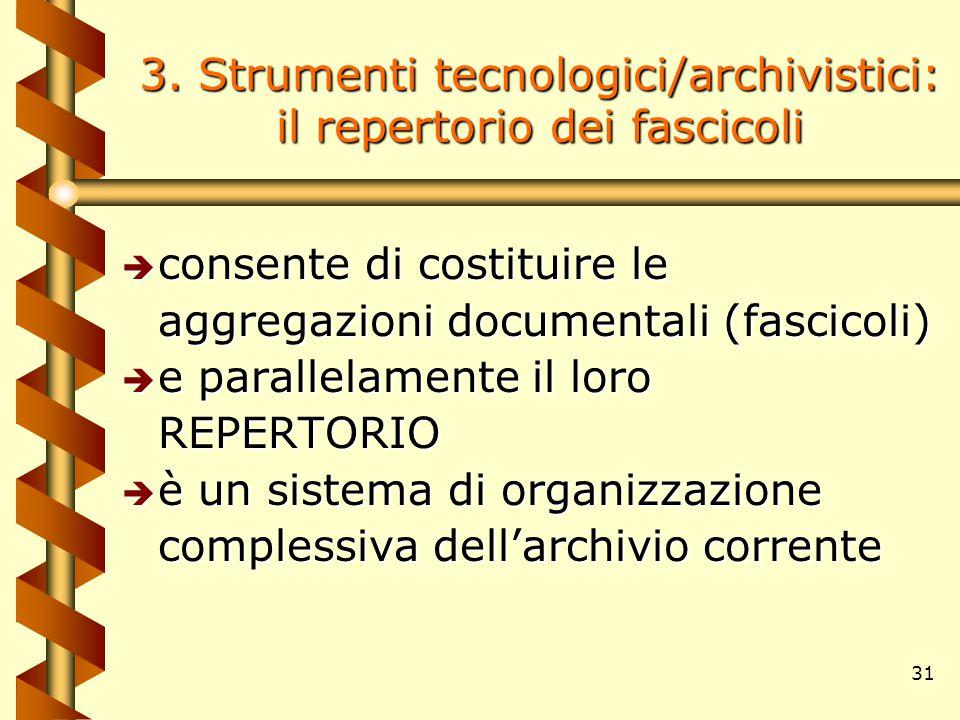 31 3. Strumenti tecnologici/archivistici: il repertorio dei fascicoli è consente di costituire le aggregazioni documentali (fascicoli) è e parallelame