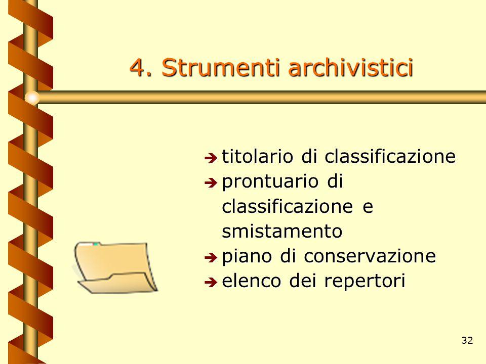 32 4. Strumenti archivistici è titolario di classificazione è prontuario di classificazione e smistamento è piano di conservazione è elenco dei repert
