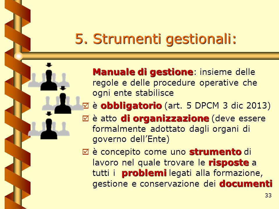 33 5. Strumenti gestionali: Manuale di gestione Manuale di gestione : insieme delle regole e delle procedure operative che ogni ente stabilisce obblig