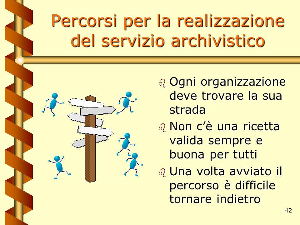 42 Percorsi per la realizzazione del servizio archivistico b Ogni organizzazione deve trovare la sua strada b Non c'è una ricetta valida sempre e buon