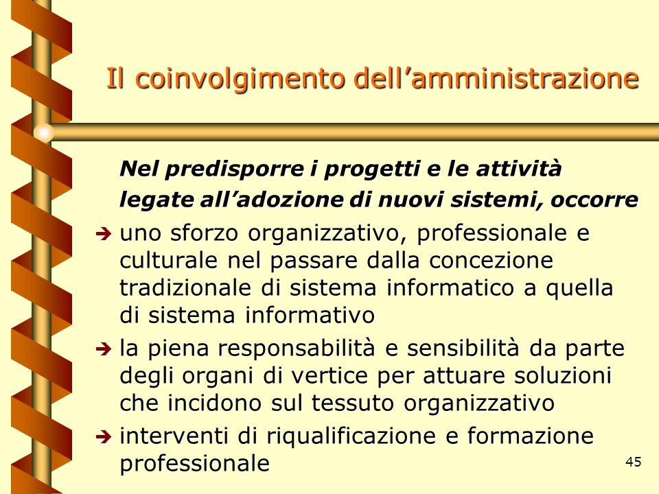 45 Il coinvolgimento dell'amministrazione Nel predisporre i progetti e le attività legate all'adozione di nuovi sistemi, occorre è uno sforzo organizz