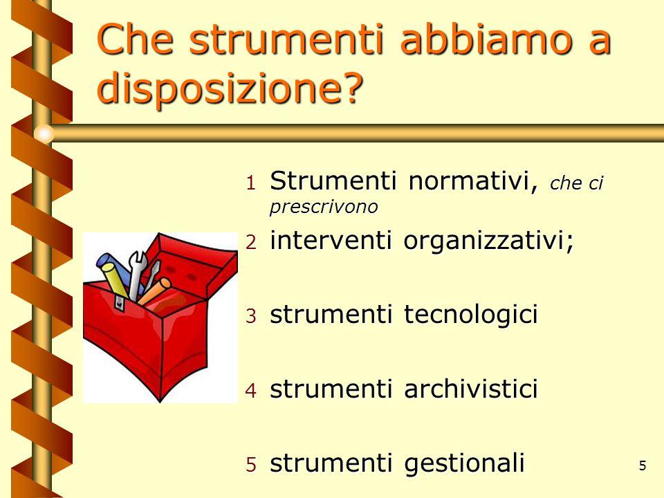 5 Che strumenti abbiamo a disposizione? 1 Strumenti normativi, che ci prescrivono 2 interventi organizzativi; 3 strumenti tecnologici 4 strumenti arch