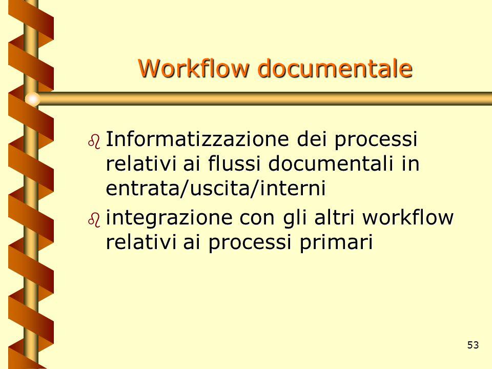 53 Workflow documentale b Informatizzazione dei processi relativi ai flussi documentali in entrata/uscita/interni b integrazione con gli altri workflo