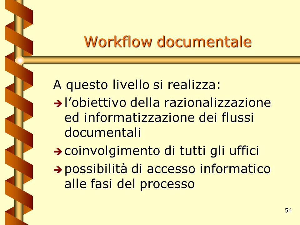 54 Workflow documentale A questo livello si realizza: è l'obiettivo della razionalizzazione ed informatizzazione dei flussi documentali è coinvolgimen