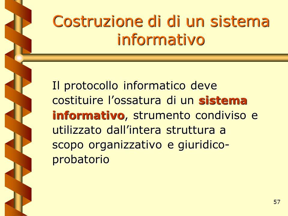 57 Costruzione di di un sistema informativo Il protocollo informatico deve costituire l'ossatura di un sistema informativo, strumento condiviso e util