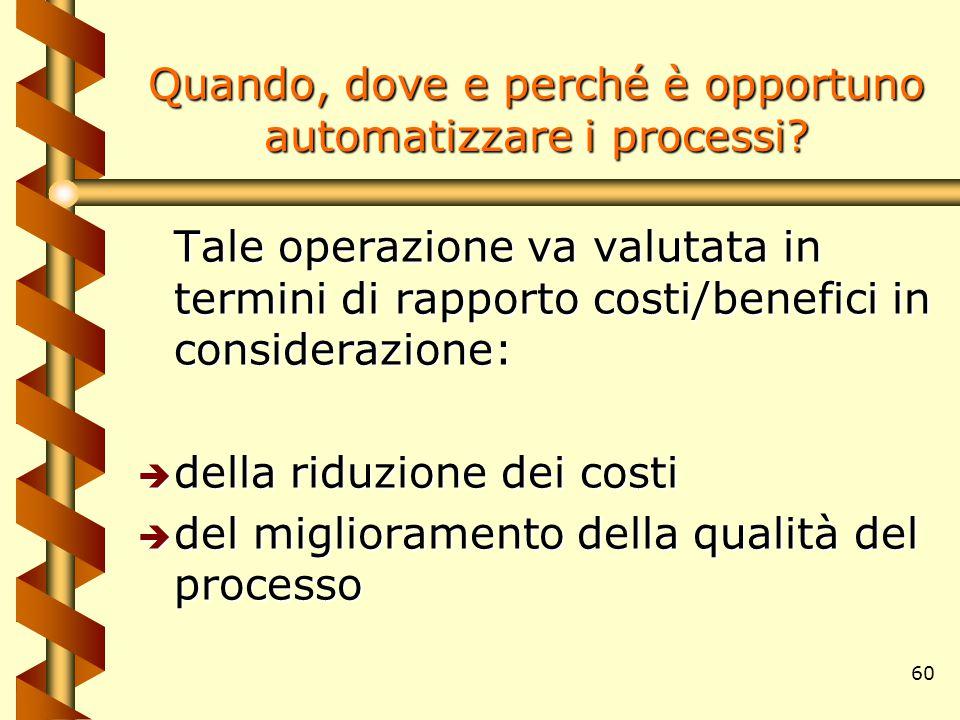 60 Quando, dove e perché è opportuno automatizzare i processi? Tale operazione va valutata in termini di rapporto costi/benefici in considerazione: è