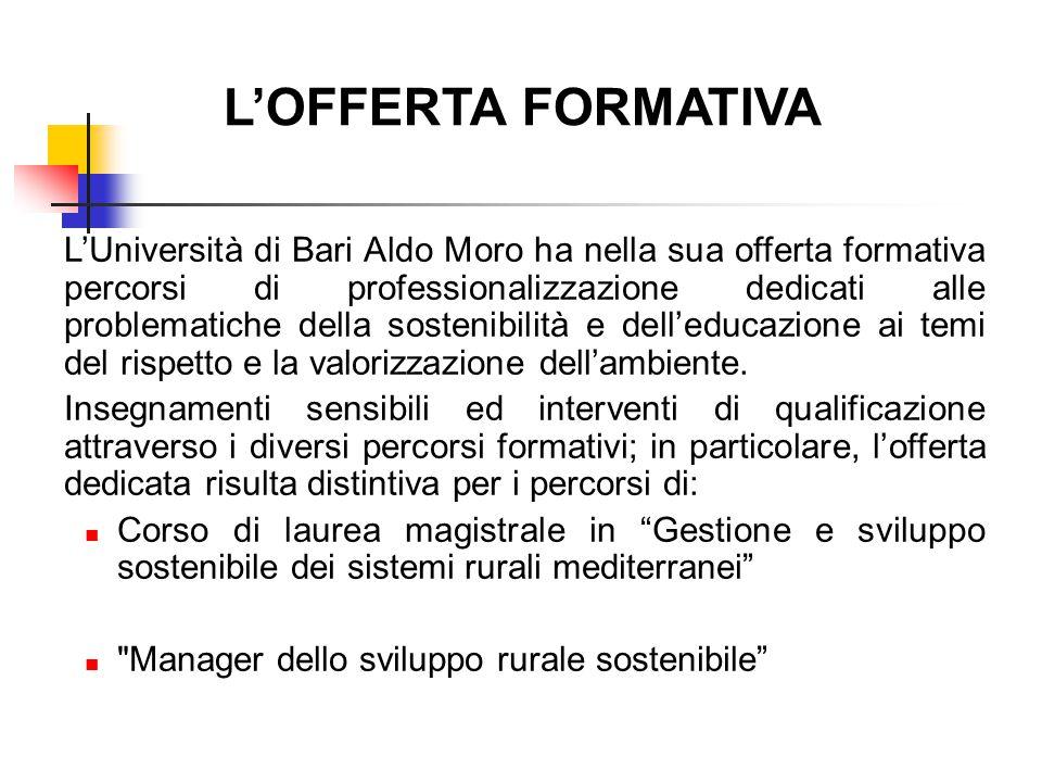 L'OFFERTA FORMATIVA L'Università di Bari Aldo Moro ha nella sua offerta formativa percorsi di professionalizzazione dedicati alle problematiche della