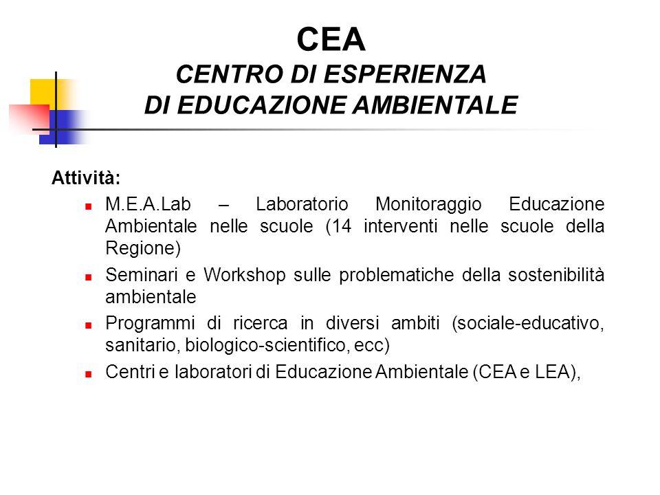 CEA CENTRO DI ESPERIENZA DI EDUCAZIONE AMBIENTALE Attività: M.E.A.Lab – Laboratorio Monitoraggio Educazione Ambientale nelle scuole (14 interventi nel