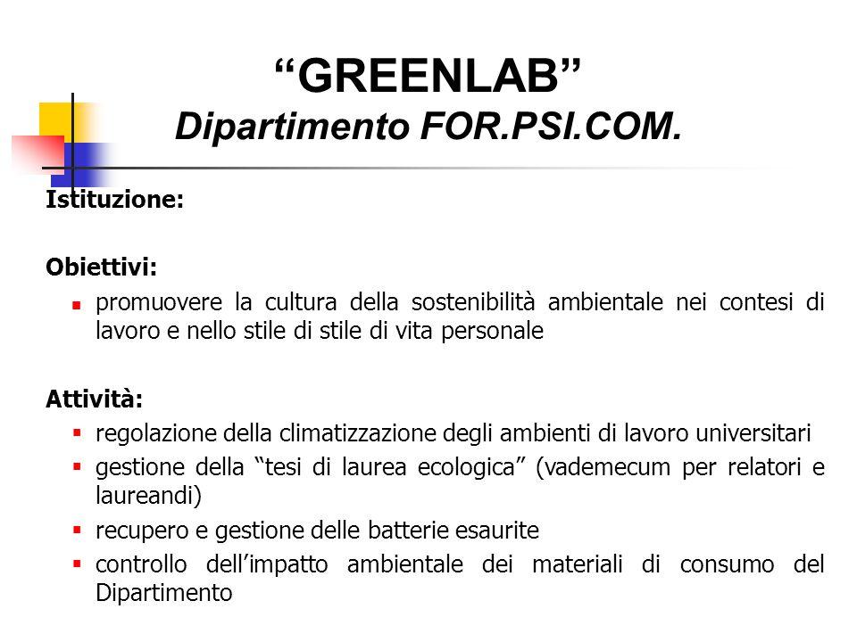 """""""GREENLAB"""" Dipartimento FOR.PSI.COM. Istituzione: Obiettivi: promuovere la cultura della sostenibilità ambientale nei contesi di lavoro e nello stile"""