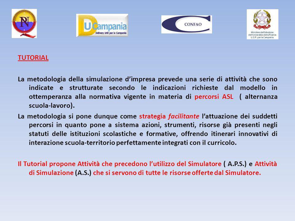 TUTORIAL La metodologia della simulazione d'impresa prevede una serie di attività che sono indicate e strutturate secondo le indicazioni richieste dal