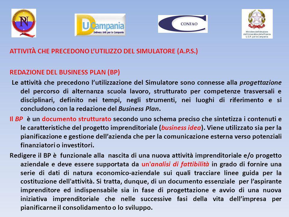 ATTIVITÀ CHE PRECEDONO L'UTILIZZO DEL SIMULATORE (A.P.S.) REDAZIONE DEL BUSINESS PLAN (BP) Le attività che precedono l'utilizzazione del Simulatore so