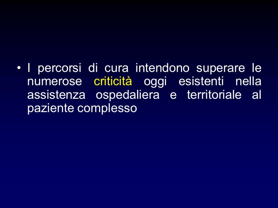 I percorsi di cura intendono superare le numerose criticità oggi esistenti nella assistenza ospedaliera e territoriale al paziente complesso