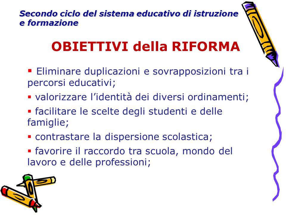 OBIETTIVI della RIFORMA Secondo ciclo del sistema educativo di istruzione e formazione  Eliminare duplicazioni e sovrapposizioni tra i percorsi educa