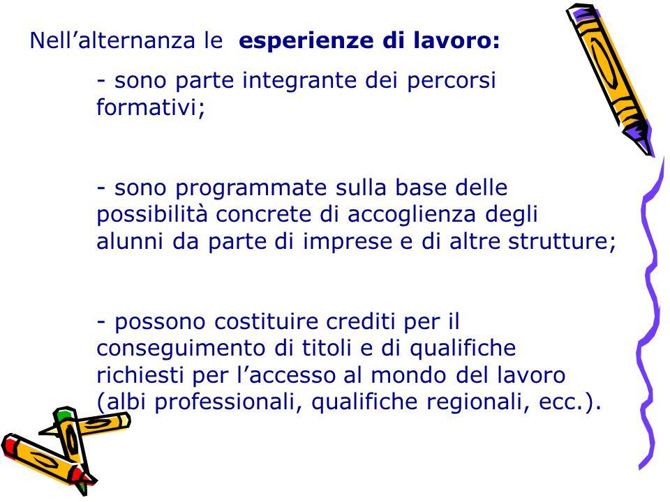 Nell'alternanza le esperienze di lavoro: - sono parte integrante dei percorsi formativi; - sono programmate sulla base delle possibilità concrete di a
