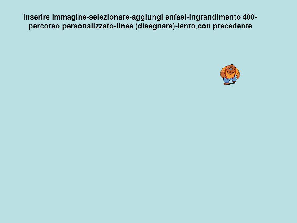 Inserire immagine-selezionare-aggiungi enfasi-ingrandimento 400- percorso personalizzato-linea (disegnare)-lento,con precedente