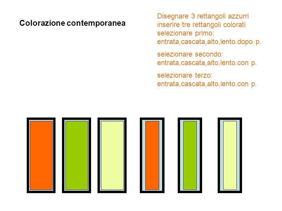 Disegnare 3 rettangoli azzurri inserire tre rettangoli colorati selezionare primo: entrata,cascata,alto,lento.dopo p. selezionare secondo: entrata,cas