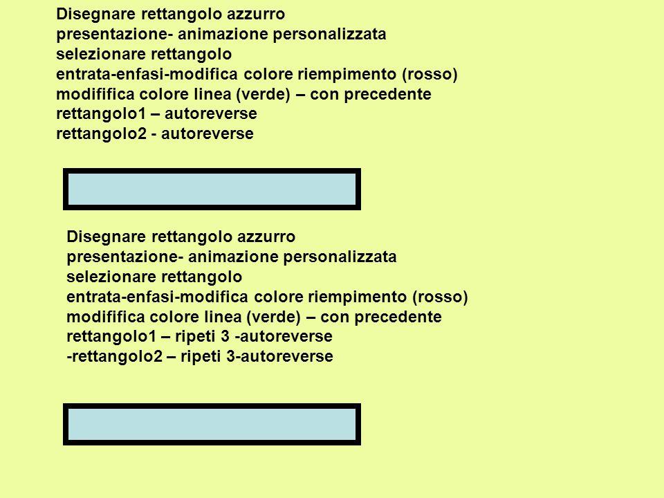 Disegnare rettangolo azzurro presentazione- animazione personalizzata selezionare rettangolo entrata-enfasi-modifica colore riempimento (rosso) modifi