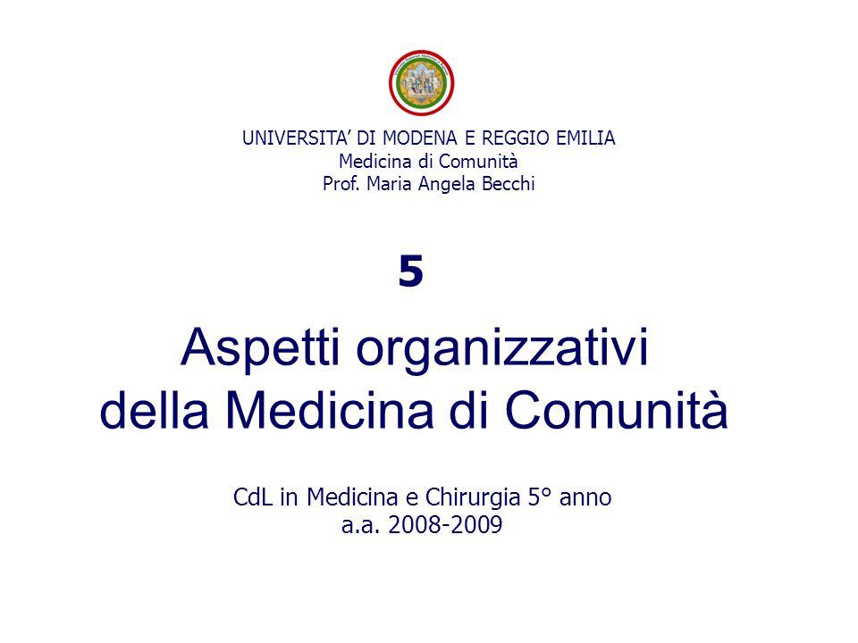 UNIVERSITA' DI MODENA E REGGIO EMILIA Medicina di Comunità Prof. Maria Angela Becchi Aspetti organizzativi della Medicina di Comunità CdL in Medicina