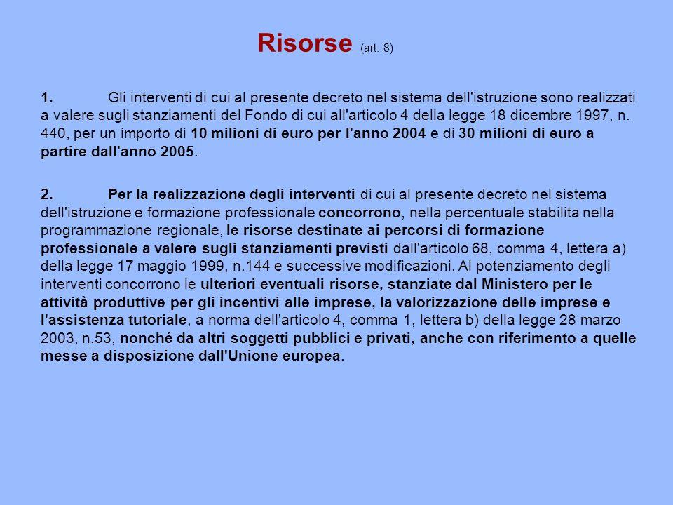 Risorse (art.8) 1.