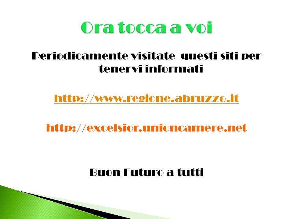 Periodicamente visitate questi siti per tenervi informati http://www.regione.abruzzo.it http://excelsior.unioncamere.net Buon Futuro a tutti