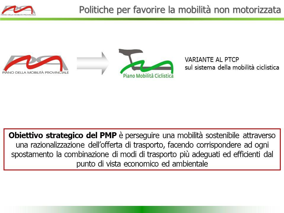 Obiettivo strategico del PMP è perseguire una mobilità sostenibile attraverso una razionalizzazione dell'offerta di trasporto, facendo corrispondere a