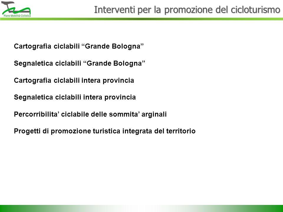 """Interventi per la promozione del cicloturismo Cartografia ciclabili """"Grande Bologna"""" Segnaletica ciclabili """"Grande Bologna"""" Cartografia ciclabili inte"""