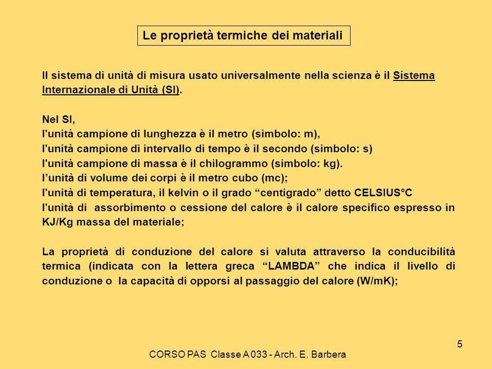 CORSO PAS Classe A 033 - Arch. E. Barbera 5 Il sistema di unità di misura usato universalmente nella scienza è il Sístema Internazionale di Unità (SI)